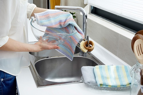 Cleaning Dishes with Kitchen Towel