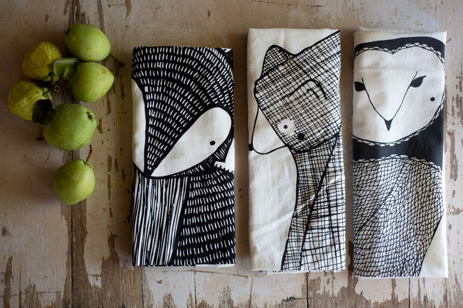 Three Decorative Kitchen Towels with Different Motives