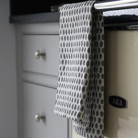 Hanging Grey Kitchen Towels on Stove