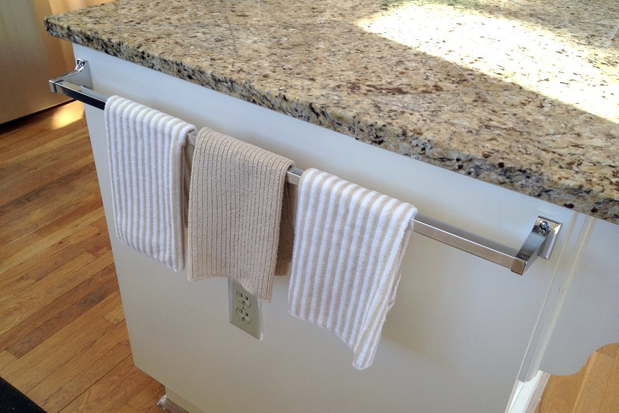 Kitchen Towels on Kitchen Counter