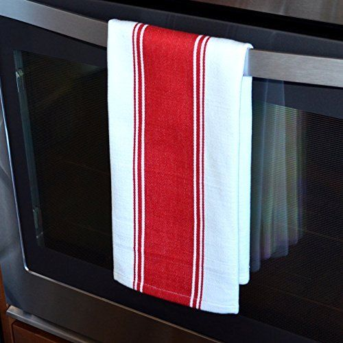 Red Kitchen Towel on an Oven